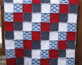 Red White and Blue Nautical Themed Super Soft Crib Sized Flannel Rag Quilt Wuzzy