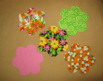 Handmade Applique Flower - 4 1/4 x 4 1/4 - Set of 5 - Iron on Sew on
