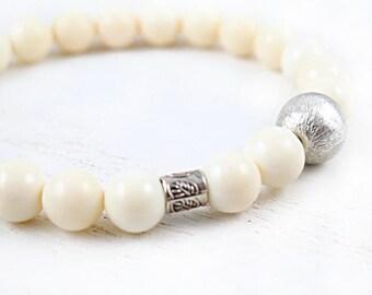 Ivory Bone Beaded Bracelet, Mala Style, Stretch Bracelet,Yoga Zen Meditation, Hill Tribe Silver Bracelet