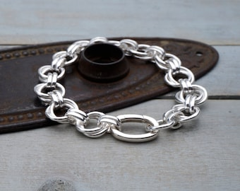 Chunky Sterling Silver Chain Link Bracelet - sterling silver link bracelet - sterling silver plain link bracelet - layering bracelet