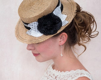 Garden Party Straw Boater Hat For Bridal and Wedding