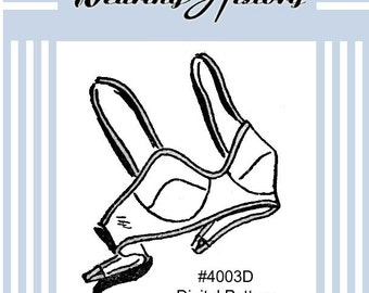 E-Pattern- 1940s Brassiere Bra Sewing Pattern- PDF- Wearing History
