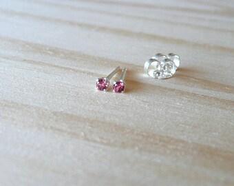 teeny tiny stud earrings, natural rhodolite earring, 2mm rhodolite gemstone stud earrings, rhodolite tiny earring stud, June birthstone stud