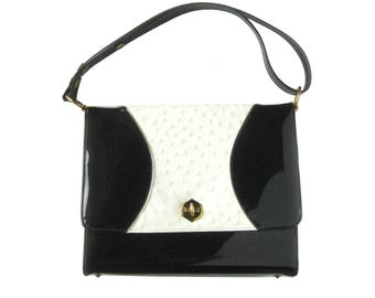 1950s Vintage Patent Leather Handbag with Ostrich Inset / Black and White Kelly Bag / Evening Bag / Hand Bag / Vintage Purse / Gift for Her