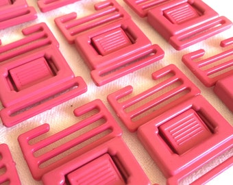 Parachute clips, buckles, 1 dozen, wholesale lot, pink, for kids clothes, bags or totes