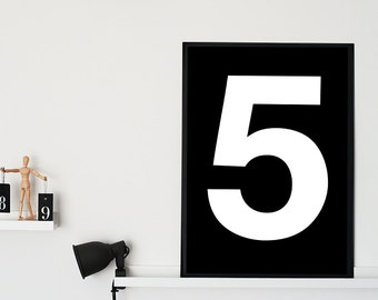"""Number 5 Printable Poster - Nursery Print Number - Scandinavian Poster - Typography Print -  Number 5 Wall Art - 70x100 cm, 27x40"""",11x14"""",A3"""