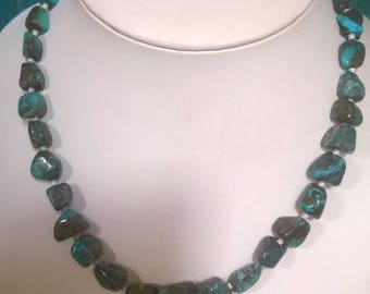 Ribbon Royston Turquoise Nugget Necklace From The 1990's