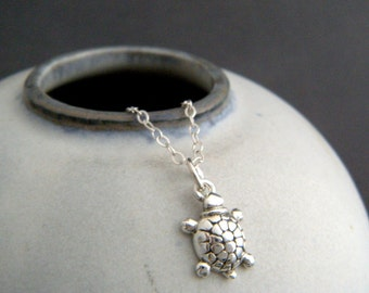 tiny silver turtle necklace. sterling silver animal pendant. spirit totem. small simple delicate everyday jewelry. good luck charm gift