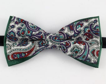 green bow tie with paisley pattern