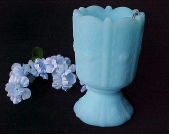 1970s Fenton Blue Satin Glass Footed Toothpick Holder in Paneled Daisy, Collectible Glassware Votive Candle Holder, Light Blue Q Tip Holder