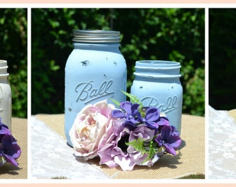 Rustic Mason Jars, Wedding Favors,/Centerpieces, Set of Two (2)