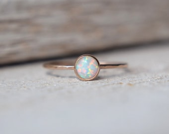 14k SOLID Gold Opal Ring- Opal Solid Gold Ring, 14k Opal Ring, 14k Gold Opal Ring, Opal Stacking Ring, Dainty Solid Gold Opal Ring