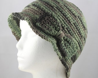 Cloche Hat in Greeen Ombre for Cancer Patients - Chemo Hat/Cancer Hat/Chemo Cap/Cancer Cap