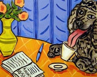25% off Black Poodle at the COffee Shop Dog Art Tile Coaster