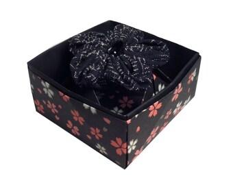 Kanzashi flower brooch, Mum's Gift, black bead, black white, vintage kimono fabric, Origami Box, Statement Brooch, Artisan Gifts For Mothers