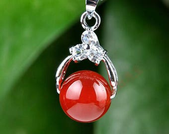 Free Delivery Natural red jade pendant  inlaid beads necklace pendant