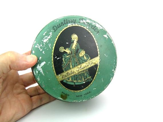Vintage Art Deco Cosmetics Tin. Trinket Box, Jewelry, Vanity, Dressing Table.
