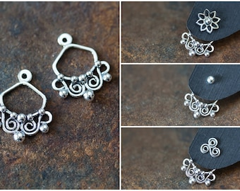 Interchangeable silver ear jacket earrings, artisan handmade sterling silver front and back earring, mix and match stud earrings