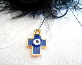 x 1 charm 19 mm cross pendant metal blue enamel evil eye gold plated.