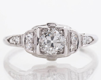 Antique Engagement Ring - Antique Art Deco Platinum Diamond Engagement Ring