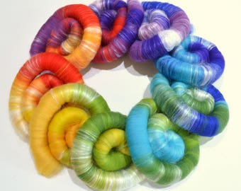 Rolags - 5.3 oz Rainbow Hand Blended Merino and Silk Rolags for Spinning