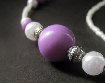 Badge Holder or Eyeglass Chain. Lavender Lanyard. Eyeglass Necklace. Purple Lanyard. Eyeglass Holder. Beaded Lanyard. Handmade Lanyard.