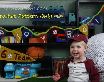 Baseball Bunting and Pennant - CROCHET PATTERN