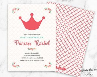 Princess Birthday Invitation, Princess Crown Invitation, Princess Party Invite, Princess Crown Party, Princess Invitation, Girls Invite
