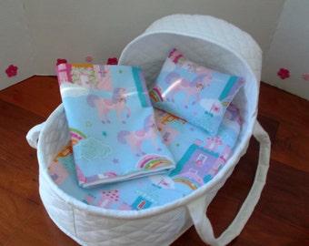 17 Inch Doll Moses Basket | Unicorn Bedding | Reborn Doll Bed | Doll Bassinet | Doll Bedding | Bitty Baby Bed | All Cotton