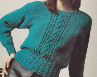 Womens easy knit sweater vintage knitting pattern cable pattern sweater pdf INSTANT download pattern only pdf