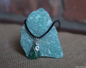 Aventurine wire wrapped handmade necklace