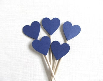 24 Blue Heart Cupcake Toppers, Party Decor, Weddings, Showers, Spring, Summer, Love