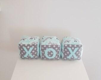 Baby Blocks/XOX soft fabric block/ photo prop/ modern nursery keepsake/ new baby gift/ neutral bedroom decor aqua grey woodland fox custom