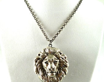 Antique Silver Lion Head Inlaid in Oxidized Silver Large Pill Box Locket Leo Necklace Steampunk  45mm x 35mm Pendant
