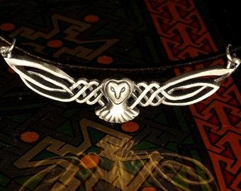 Sterling Owl Necklace, Celtic Owl Pendant, Silver Owl Necklace, Celtic Owl Barn Owl Wings, Labrynth Necklace, Jareth Necklace Owl Lover Gift