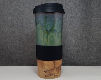 IN STOCK* Clay Travel mug / Commuter mug with silicone lid -DragonFlies - Olive Blue