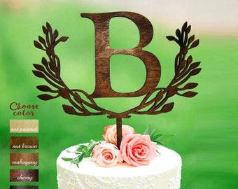 b cake topper, cake toppers for wedding, letter cake topper wedding, wreath cake topper, monogram cake topper, cake topper b, CT#134