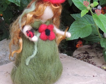 Wool Doll - Poppy Maiden with her friend Lady Bug-  Waldorf inspired needle felted autumn by Rebecca Varon