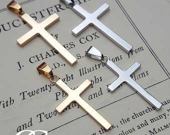 Personalised Solid 9ct Yellow or White Gold Cross Pendant Necklace ENGRAVE