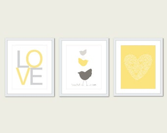 Nursery Art Prints, bird nursery wall art, yellow nursery art, frames not included, gifts for baby shower