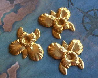 4PC Brass Medium Orchid / Iris Flower Finding - P0345