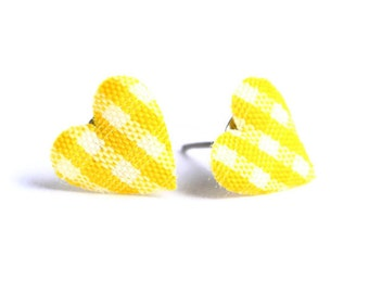 Yellow and white plaid padded heart fabric stud earrings (446)