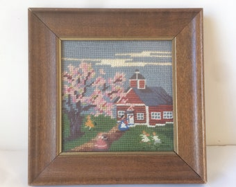 Red Schoolhouse, Framed Needlepoint, Country School, Little Red School, One Room School, Teachers Gift, School Children, Schoolhouse Picture
