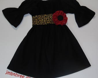 Black Peasant Dress with Sash in your choice of  6m-4t