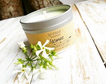Jasmine Soy Candle, Organic Candle, Organic Soy Candle, Scented Candle, Spring Candle, Soy Candle, Summer Canddle, Jasmine Candle