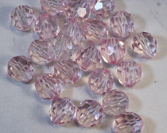 Light Pink Faceted Round Acrylic Beads, Wholesale Bead Lots