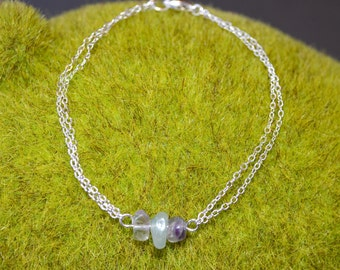 Fluorite Bracelet Dainty Fluorite Bracelet Silver Chain Fluorite Birthstone Jewelry Fluorite Crystal Bracelet Bridesmaid Bracelet