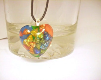 Beach Necklace,  Heart with Shells , fun, colorful, Summer Jewelry