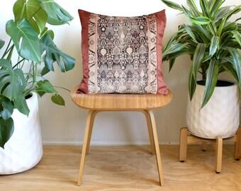Pink Kilim Pattern velvet, Blush Pink Pillow, Boho Velvet Pillow Cover, 20x20, Rose Gold, Bohemian Decor, Rug Print, Boho Home Decor