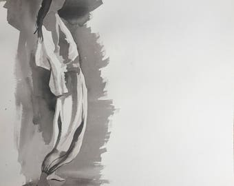 Sumi Ink Painting of a Man Twisting